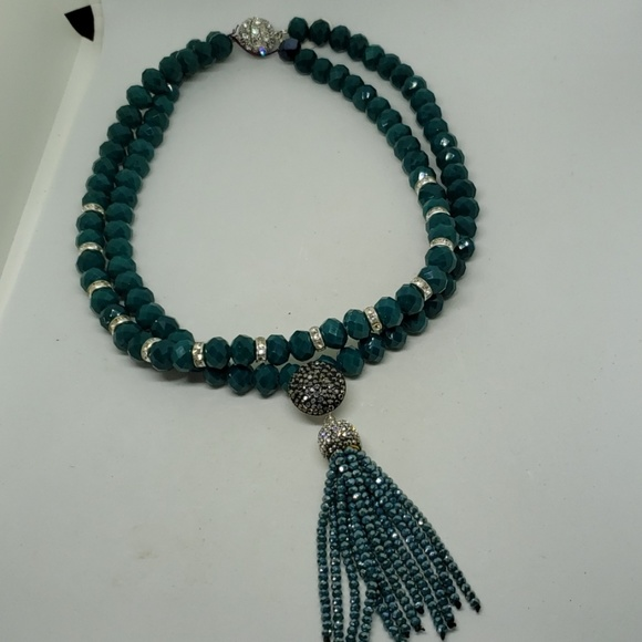 Jewelry - Dark teal faceted crystal double strand necklace